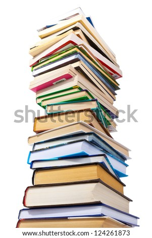 Big pile of books isolated on white background - stock photo