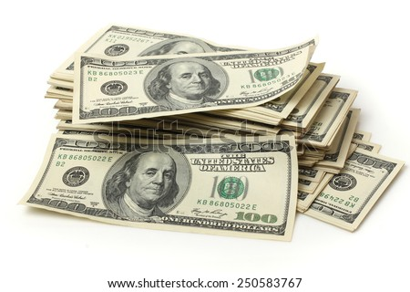 big pile of dollars - stock photo