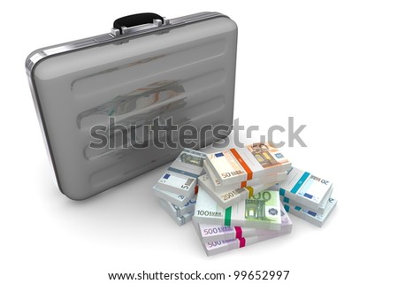 big pile of euro banknotes with wrapper / banderole next to a dark silver grey briefcase - stock photo