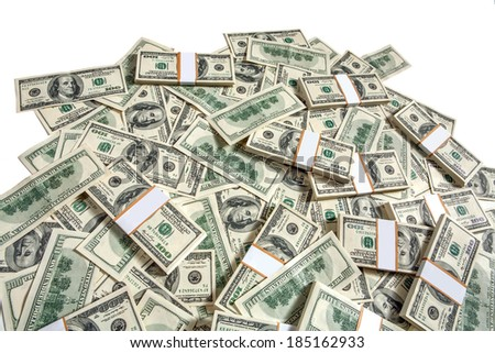 Big pile of money / studio photography of American moneys of hundred dollar  - stock photo