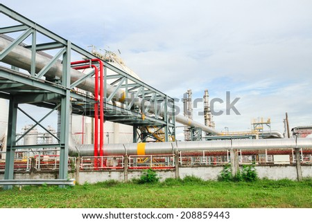 Big pipes and iron structure in plant - stock photo