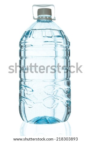 Big Plastic bottle of drinking water isolated on white background - stock photo