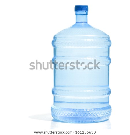 Big Plastic Water Bottle For Potable on white background - stock photo