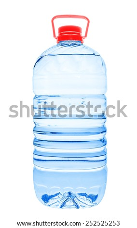 Big plastic water bottle isolated on white backgroud - stock photo