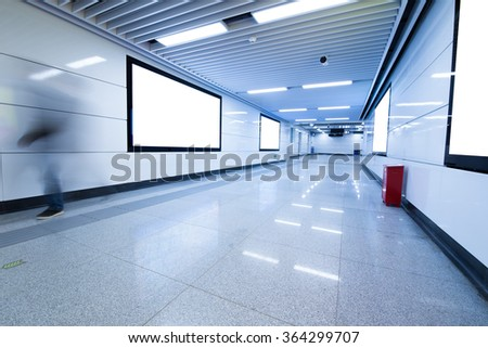 big portrait orientation blank billboard in public transport - stock photo
