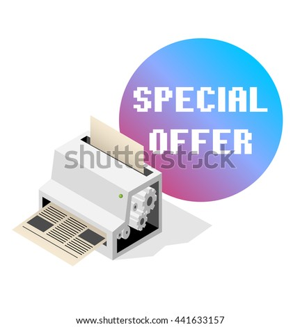 Big printer-fabric for printing newspaper. Isometric  - stock photo