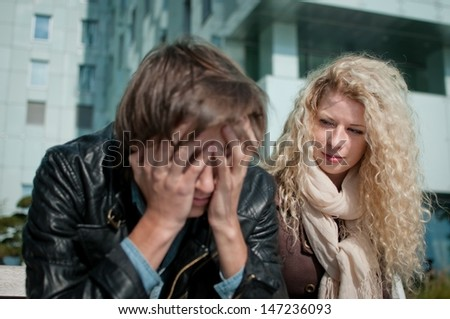 Big problems - man in troubles - stock photo