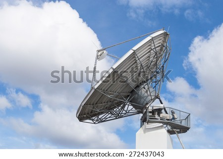 Big radar parabolic radio antenna global telecommunication technology equipment for information data streaming broadcast - stock photo