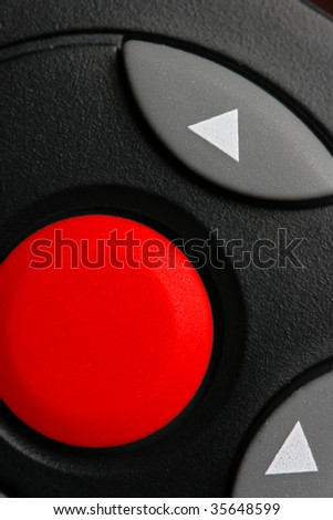 Big red blank button close-up - stock photo