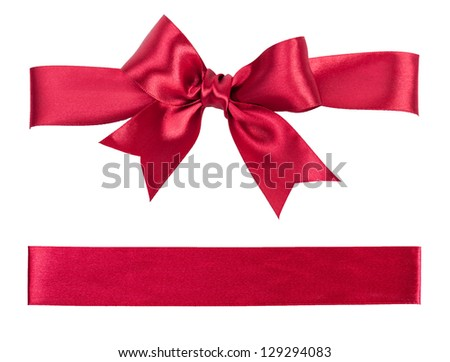 big red bow made from silk ribbon - stock photo