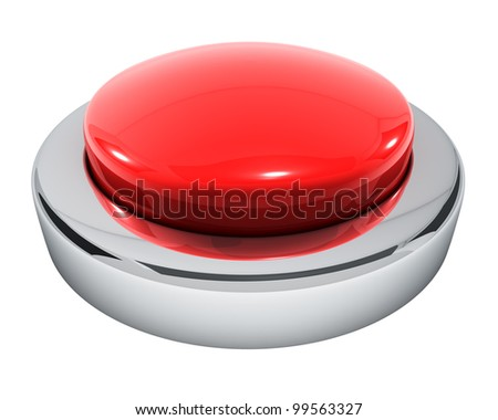 Big red button isolated on white background. - stock photo