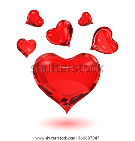 Big red heart and small red hearts on white background with shadow - stock photo