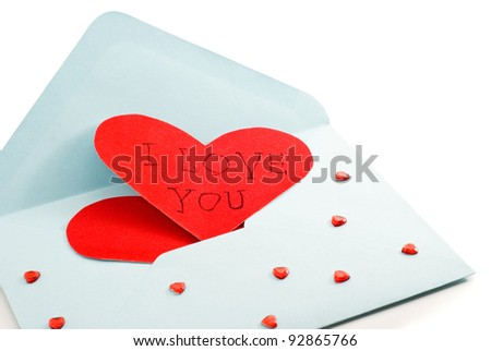 big red heart on the mail envelope, valentine, white background - stock photo
