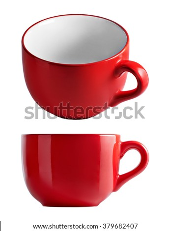 Big red mug in front and top view. Red cup for tea juice or soup. Red cup isolated on white background with clipping path. - stock photo