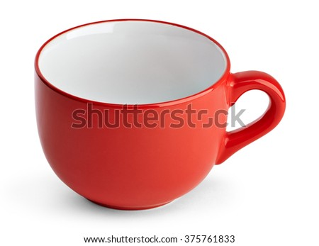 Big red mug. Red cup for tea juice or soup. Red cup isolated on white background with clipping path. - stock photo
