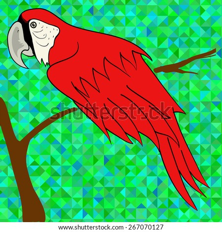 Big Red Parrot Sitting on a Branch on Green Polygonal Background. - stock photo