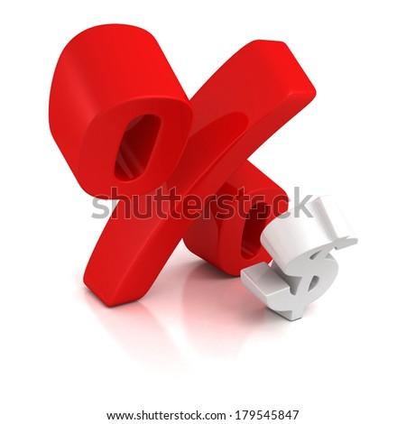 big red percent sign over small dollar symbol. tax debt finance concept. shiny 3d render illustration - stock photo