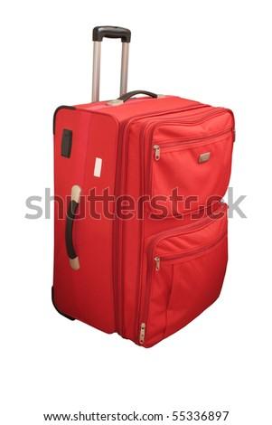 Big red suitcase. Close-up. Isolated on white background. - stock photo