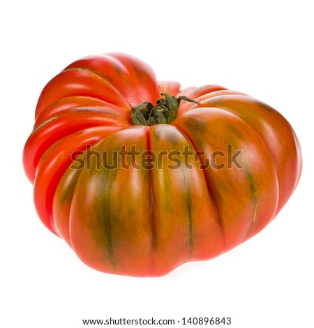 big red tomato RAF close-up isolated on white background - stock photo