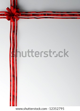 Big red velvet bow on plain background ready for text Portrait - stock photo