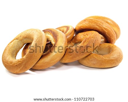 big ring bagels on a white background - stock photo
