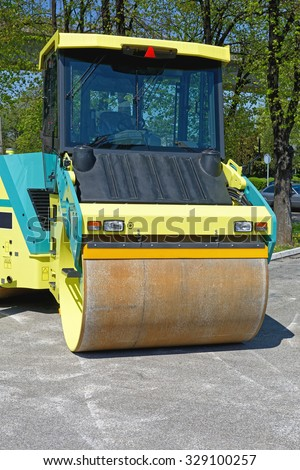 Big Road Roller Heavy Construction Machinery - stock photo