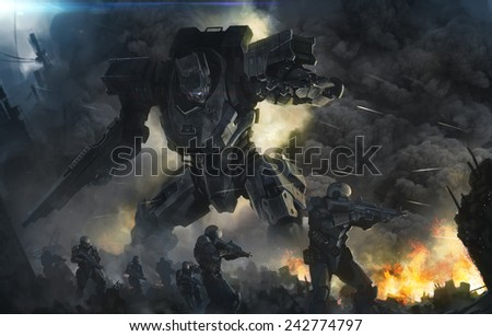 big robot and soldiers in a fight - stock photo