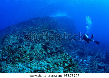 Big rock and diver underwater - stock photo
