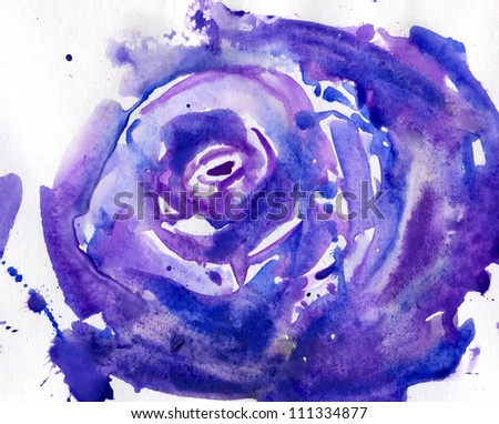 big rose watercolor. Hand Painted Purple Rose - stock photo