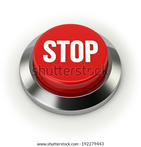 Big round stop button with steel border on white background - stock photo