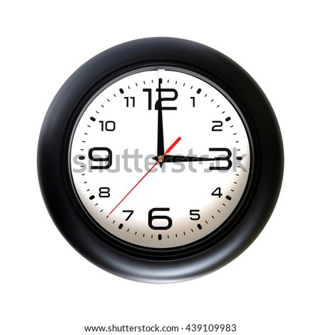 Big round wall clock, with a black rim isolated on white background close-up and arrows showing three o'clock - stock photo
