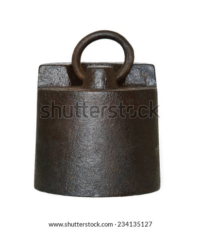 big rusty weight - five kilo - stock photo