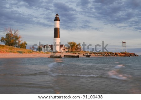 Big Sable Lighthouse evening -- Ludington, Michigan, USA - stock photo