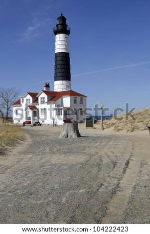 Big Sable Lighthouse -- Spring - Ludington, Michigan, USA - stock photo