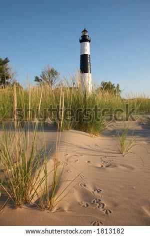Big Sable Point Lighthouse, Lake Michigan - stock photo