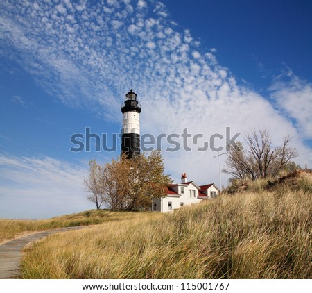 Big Sable Point Lighthouse On A beautiful Autumn Day, Michigan's Lower Peninsula, USA - stock photo