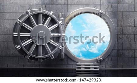 Big safe door with cloudy sky . High resolution 3D image - stock photo