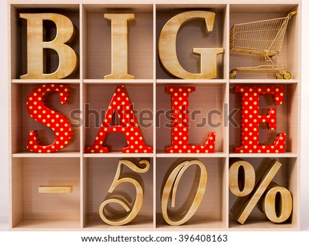 Big sale and 50% lettering in wardrobe - stock photo