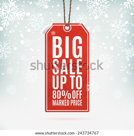 Big sale price tag on winter background with snow and snowflakes - stock photo