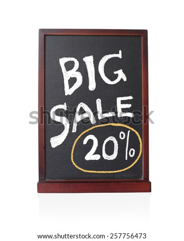 Big sale 20 % written on chalkboard isolated object - stock photo