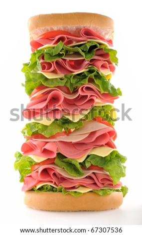 Big sandwich taken with distorted fish eye lens isolated on white background. - stock photo
