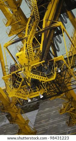 big sea port crane system from Singapore sea port - stock photo