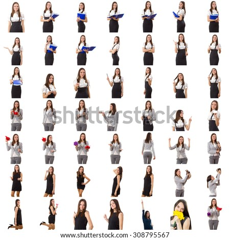 Big set of beautiful girl photo shoots for various business topics. Isolated background - stock photo