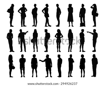 big set of black silhouettes of adult men and women standing in different postures, face, profile and back views, summertime - stock photo