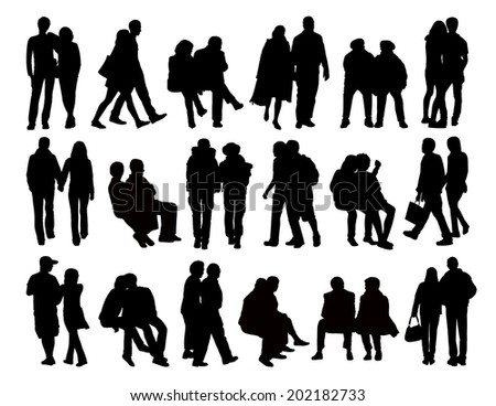 big set of black silhouettes of heterosexual couples of different ages standing, walking and sitting in the street, front, profile and back views - stock photo