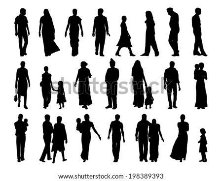 big set of black silhouettes of indian men, women and children standing and walking - stock photo