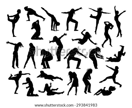 big set of black silhouettes of men and women in action, jumping, falling, making sport and exercises, dancing,  front and profile views - stock photo
