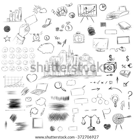 Big set of business components. Black and white sketch money, goals, weights,   statistics, arrows, scribble, notebook, hand and other symbols in a raster.  - stock photo