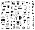 big set of cartoon mechanisms silhouettes for use in design, etc. - stock photo