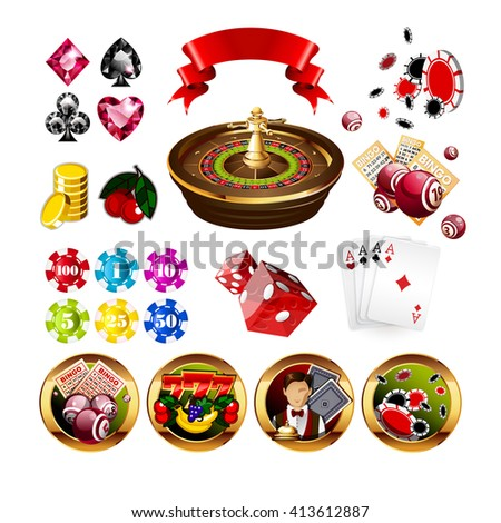 Big Set of Casino Gambling Elements and Icons Including Roulette Wheel, Playing Cards, Dice, Bingo Balls and Cards, Card Suits.  - stock photo
